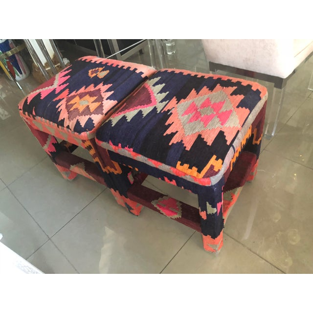 Vintage Boho Kilim Rug Upholstered Benches Stools Ottomans -A Pair For Sale - Image 12 of 13