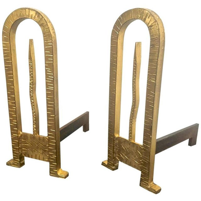 Art Deco Gold Leaf Wrought Iron Spectacular Pair of Andirons For Sale - Image 3 of 3