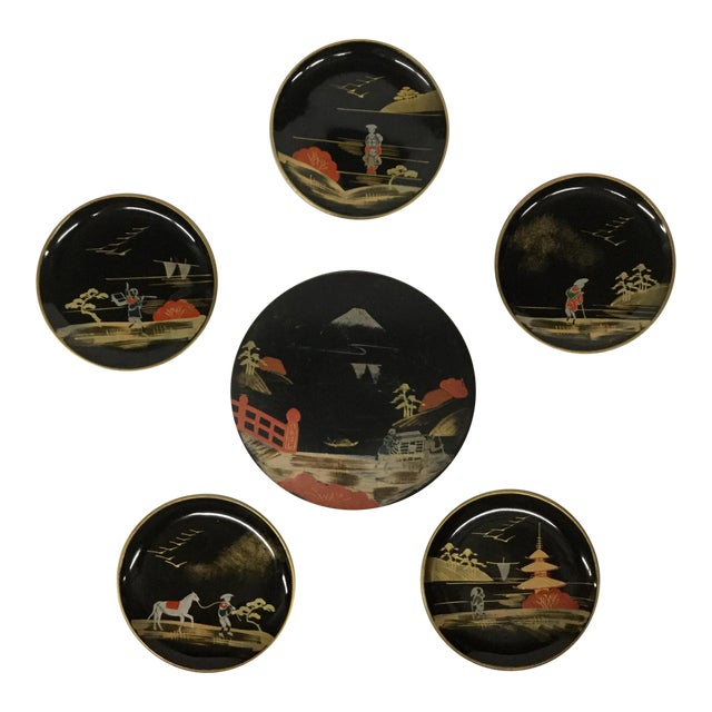 Vintage Mid-Century Modern Lacquer Coaster Set - Set of 5 For Sale