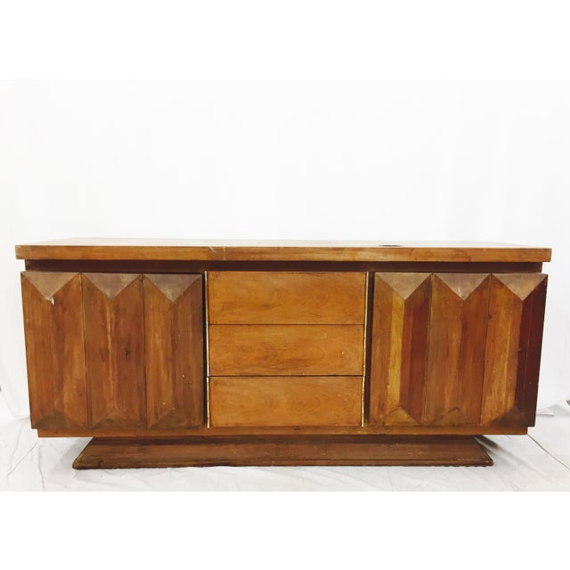 An exceptional and unique Mid-Century Modern diamond front dresser or credenza by Bassett Furniture in the style of...