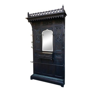 Antique French Gothic Carved Oak Hall Tree Mirror For Sale