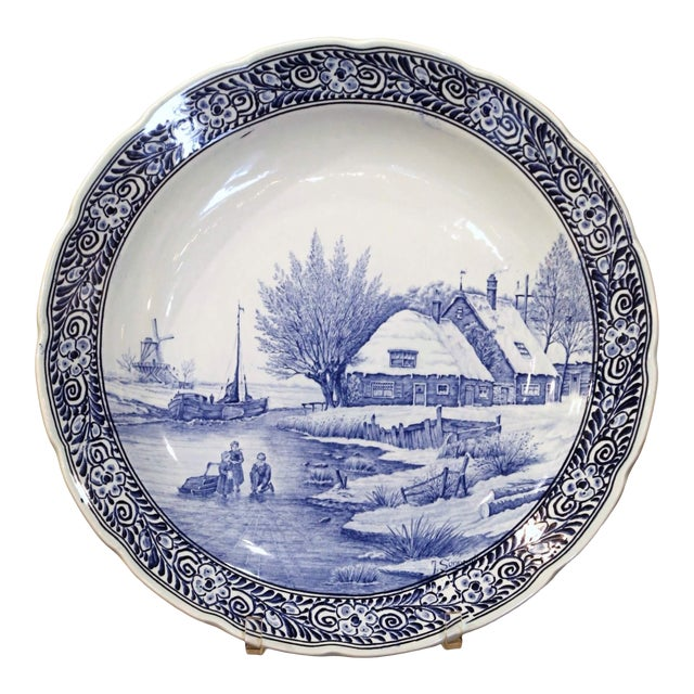 Mid-Century Dutch Hand Painted Royal Sphinx Maastricht Delft Platter For Sale