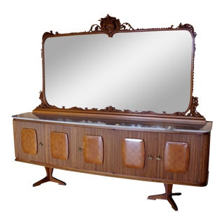 Custom Italian Marble Top Buffet & Carved Frame Mirror For Sale