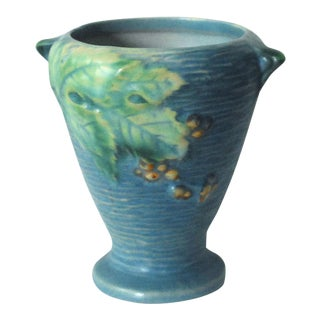 1940s Roseville Pottery Bushberry Blue Vase For Sale