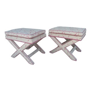 "Upholstered ""X"" Benches, Mid-Century - Pair For Sale"