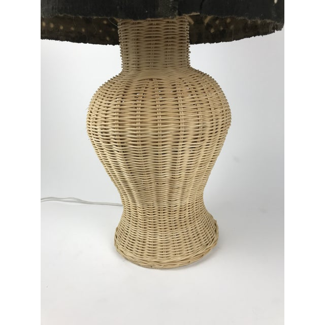 Black Wicker Ginger Jar Table Lamp With Mud Cloth Drum Shade For Sale - Image 8 of 13