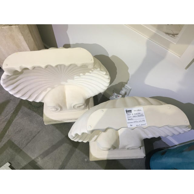 Hollywood Regency 1980s Hollywood Regency Cast Plaster Shell Table Bases - a Pair For Sale - Image 3 of 5