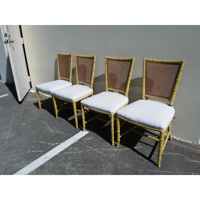 Hollywood Regency Set of Four Mid Century Modern Faux Bamboo Side Chairs For Sale - Image 3 of 10