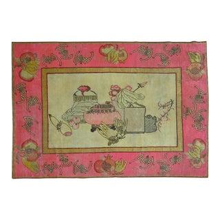 Bright Pink Boho Chic 19th Century Khotan Rug
