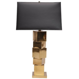 Stacked Brass Cubist Lamp