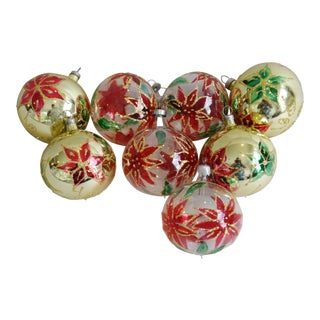 Poinsettia Glitter Christmas Tree Ornaments - Set of 8 For Sale