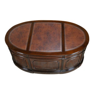 Traditional Oval Leather Top Executive Desk For Sale