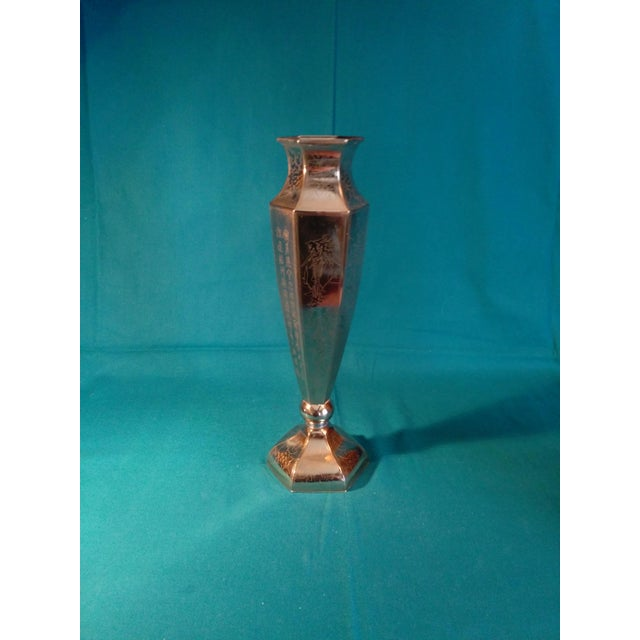 Inscribed Tall Silver Pedestal Vase - Image 4 of 8