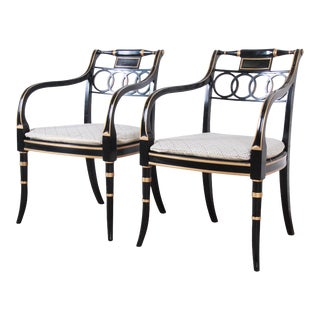 Baker Furniture Ebonized and Gold Gilt Regency Style Armchairs, Pair For Sale