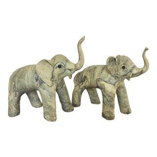Vintage Mid-Century Elephant Sculptures - a Pair For Sale