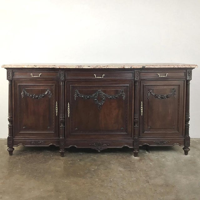 19th Century French Walnut Louis XVI Marble Top Buffet For Sale - Image 4 of 13