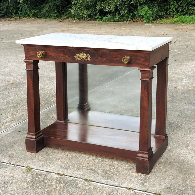19th Century French 2nd Empire Period Marble Top Console For Sale - Image 4 of 11