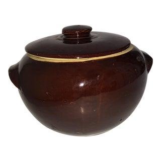 Old Glazed Ceramic Crockpot & Cover