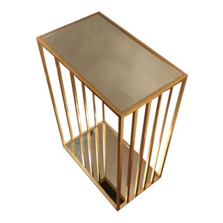 Worlds Away Contemporary Gold Metal and Mirror Marco Accent Table For Sale