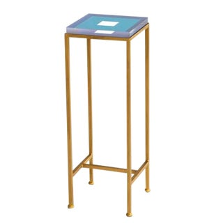 Contemporary Ellsworth Acrylic Drinks Table – Base: Gold, Top: Squares Pool Blue 2 For Sale