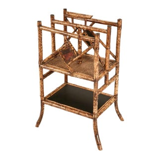 Antique English Bamboo Magazine Stand For Sale