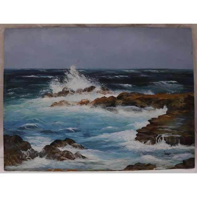 """Vintage Acrylic Seascape on a board by New Hampshire artist Ivy Lord.The painting is unframed, 16"""" x 12""""."""