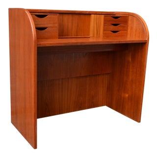 1960s Danish Modern Poul Hundevad Teak Rolltop Desk For Sale