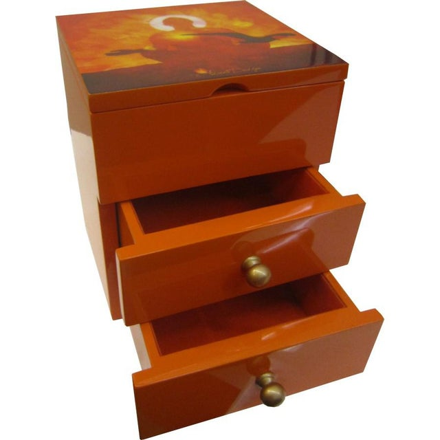 Orange 2-Drawer Jewelry Box For Sale - Image 4 of 4