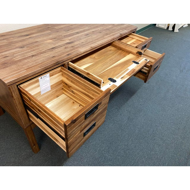 2010s Reclaimed Wood Champagne Desk For Sale - Image 5 of 10