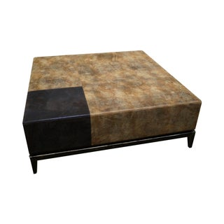 Large Leather Frame Square Ottoman For Sale