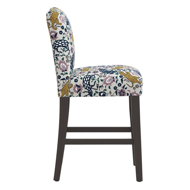 Transitional Leopard Mustard Plum Fabric Counter Stool For Sale - Image 3 of 8