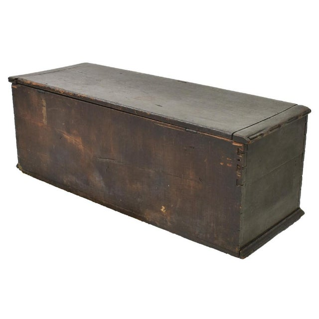 American 19th Century American Dark Blue Painted Trunk For Sale - Image 3 of 9