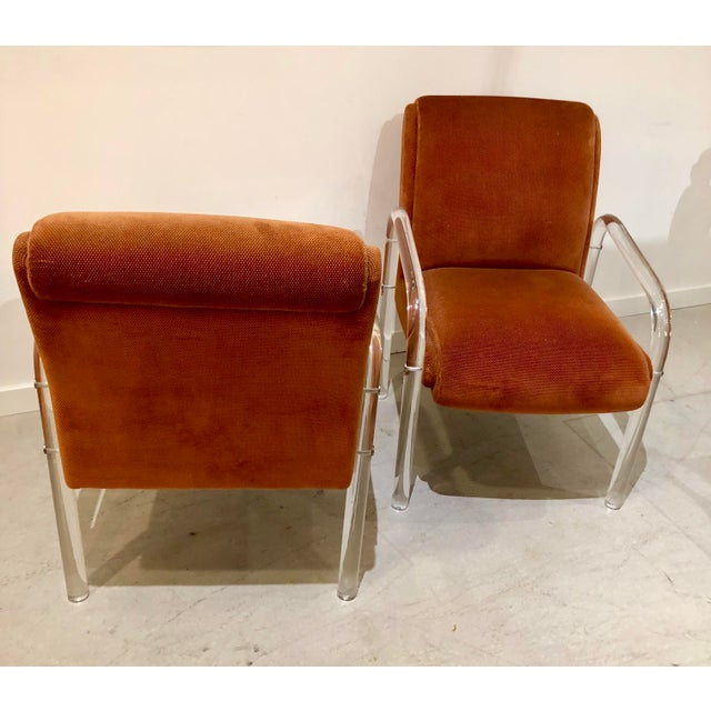 Orange Lucite Armchairs by Lion in Frost. America, C. 1970s - a Pair For Sale - Image 8 of 13