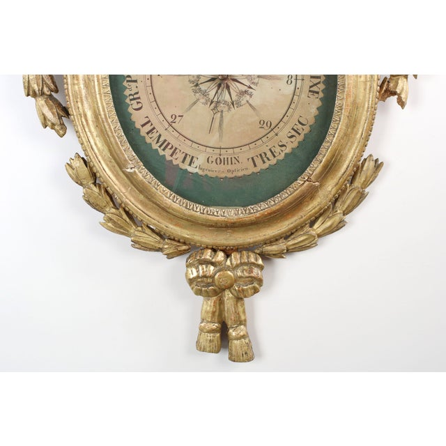 18th Century Antique French Louis XVI Period Giltwood Carved Barometer - Image 3 of 10