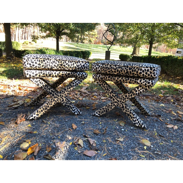 Mid-Century Modern Leopard Suede Upholstered X Benches - a Pair For Sale In New York - Image 6 of 7