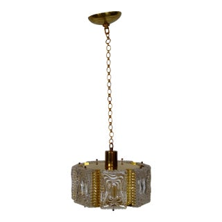 Carl Fagerlund for Orrefors Brass and Glass Flush Mount Pendant Light For Sale