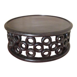 Modern Hand-Carved Mango Wood Coffee Table For Sale