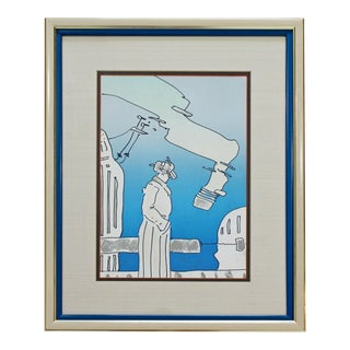 Mid Century Modern Framed Peter Max Pencil Signed Lithograph Cosmic Song Blue For Sale