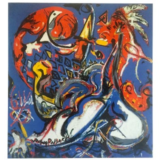 "Jackson Pollock Foundation Abstract Expressionist Lithograph Print "" the Moon - Woman Cuts the Circle "" 1943 For Sale"