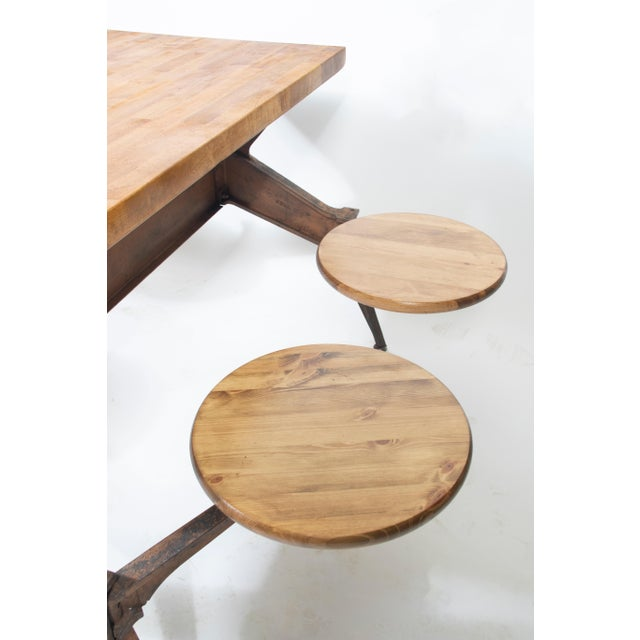 1920s Vintage Industrial Swing Stool Dining Table For Sale - Image 4 of 8