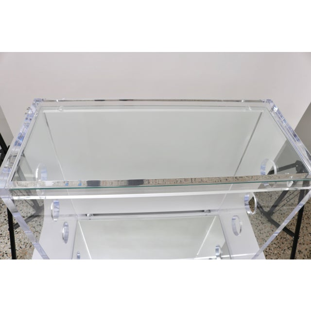 Showroom Sample - Custom Designed Lucite and Mirror Bar Cart by Alexander Millen For Sale In West Palm - Image 6 of 11