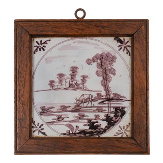 Early 19th Century Delft Manganese Tile For Sale
