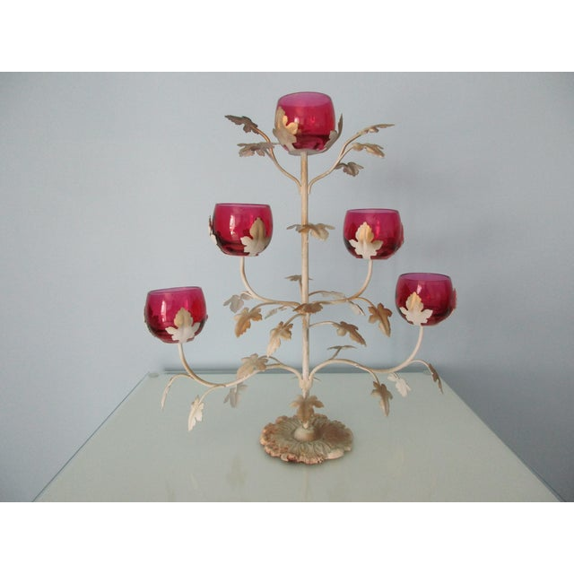 Mid-Century Modern Candelabra With Rose Colored Glass For Sale - Image 13 of 13