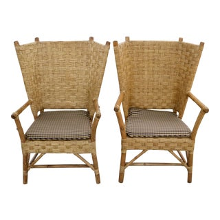 Vintage 70's Fan-Back Chairs For Sale