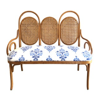 Thonet Style Bentwood Caned Bench Settee