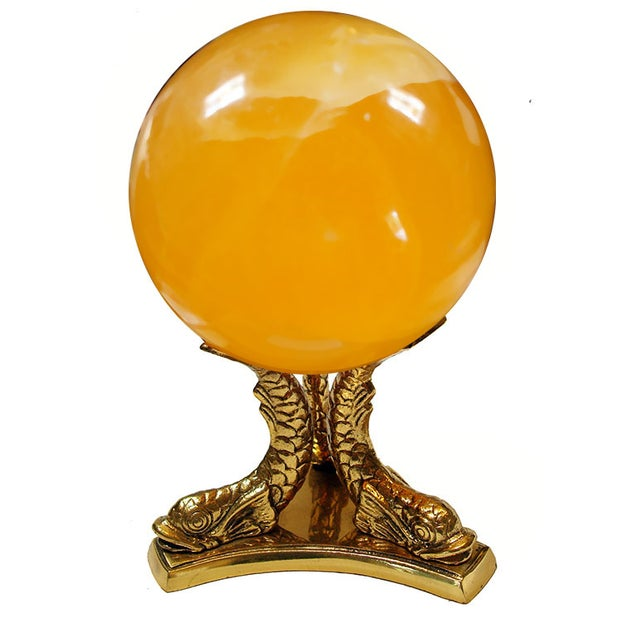 Calcite Crystal Ball on Koi Fish Stand - Image 4 of 5