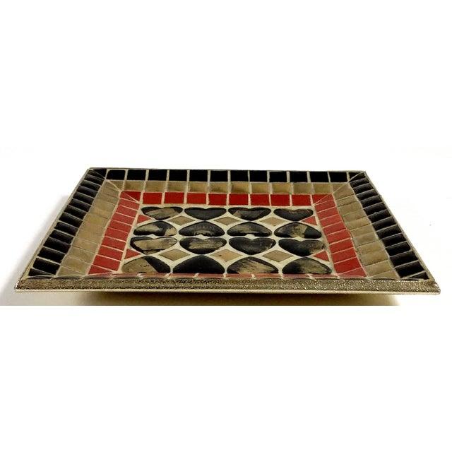 Art Deco Ceramic Heart Tile Tray - Image 7 of 8