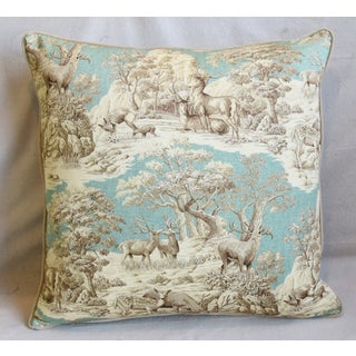 "Woodland Toile Deer & Velvet Feather/Down Pillow 25"" Square Preview"