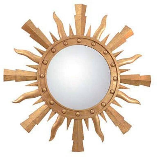 Glass 1980s Gilt Metal Sunburst Mirror For Sale - Image 7 of 7