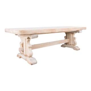 1950s Belgian Bleached Oak Trestle Table For Sale